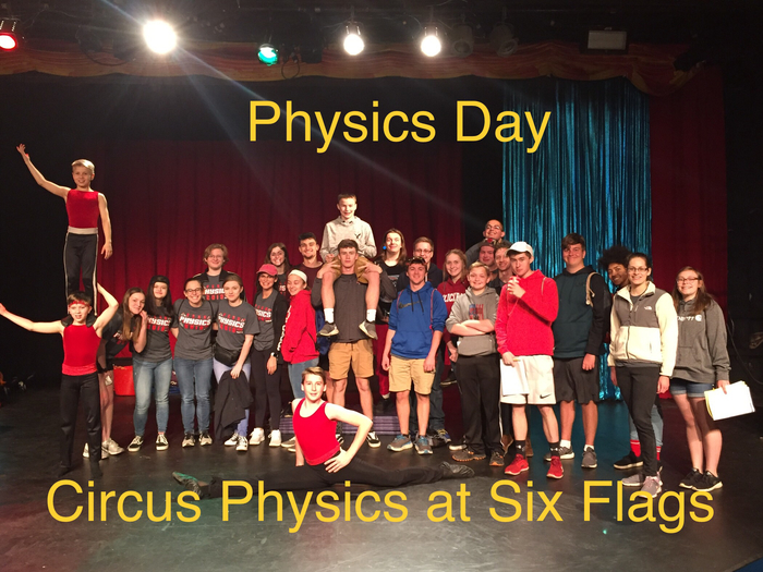 Physics students learn about physics if the circus at Physics Day at Six Flags