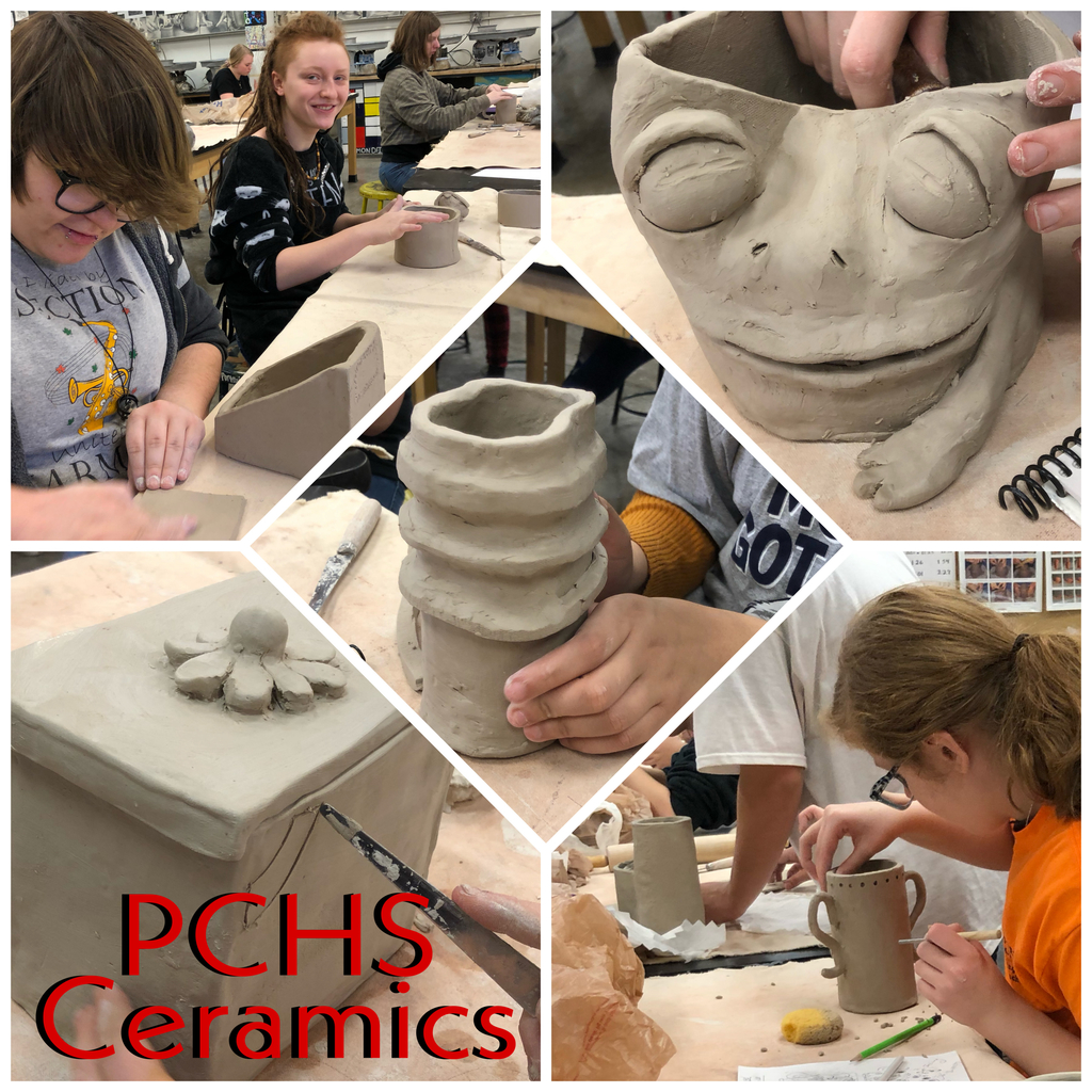 PCHS Ceramics students working on their first project of the semester!
