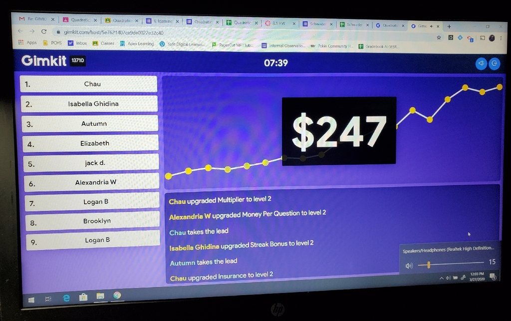 Ms. Schwader's Algebra 2A playing Gimkit